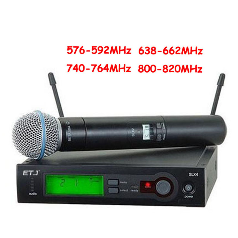 Top Quality SLX SLX24 BETA58/SM58 UHF Professional Wireless Microphone System Super Cardioid BETA Handheld Microfone Mic slx24 beta58 uhf wireless microphones only one microphone no receiver slx2