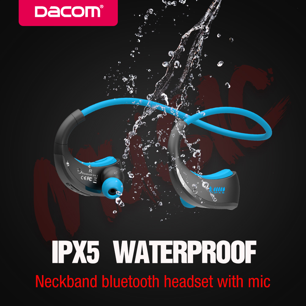 DACOM Sports Bluetooth Headset Neckband Wireless Headphones Sweatproof Stereo Bass Earphone with Mic for Phone iPhone Xiaomi wireless magnetic bluetooth earphone s8 wireless headphones sports bass bluetooth headset with mic for phone iphone xiaomi