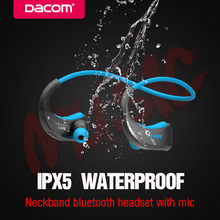 DACOM Sports Bluetooth Headset Neckband Wireless Headphones Sweatproof Stereo Bass Earphone with Mic for Phone iPhone