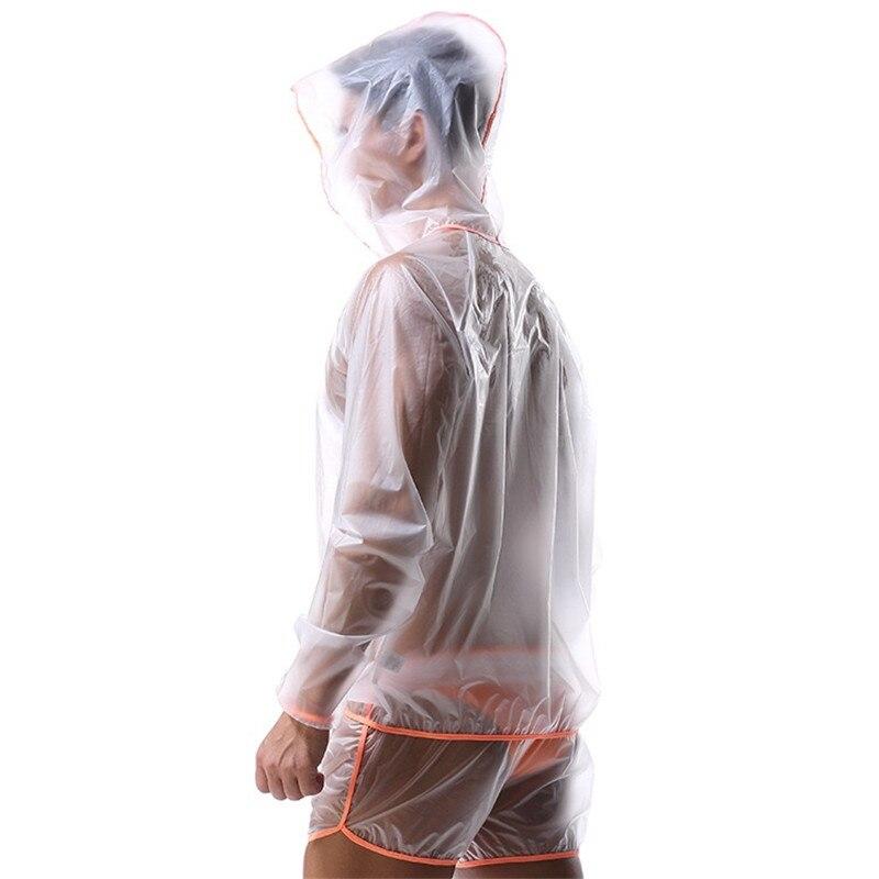 Mode entièrement Transparent Super doux hommes manches longues, costume de Sweat imperméable pour hommes Sexy,