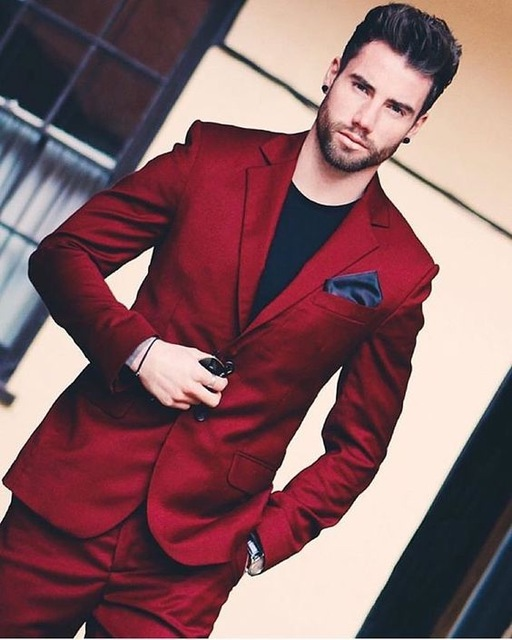 2018 New Arrival Handsome Wine Red Men Wedding Prom Dinner Suits 2 Pieces Groomsman Tuxedos Blazer Masculino Best Man Suit