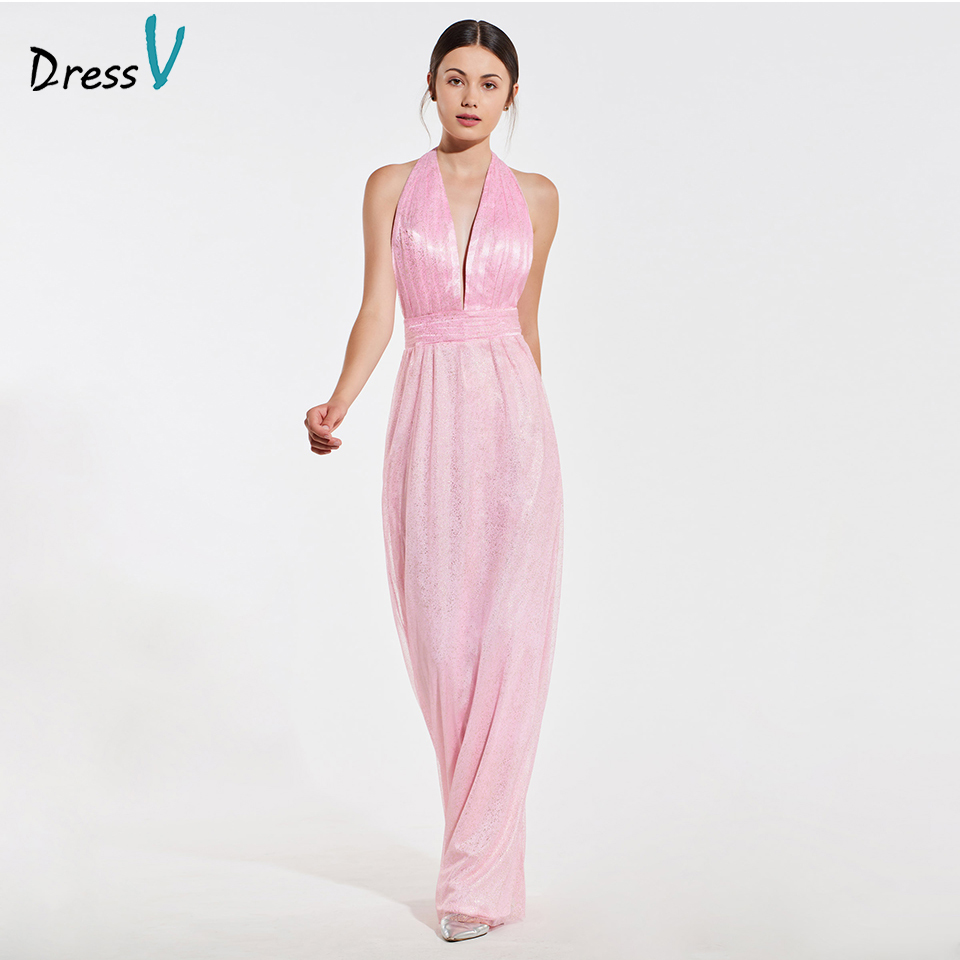 Dressv elegant pink halter neck a line bridesmaid dress sleeveless backless wedding party women floor length bridesmaid dress