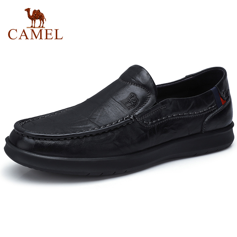 CAMEL Men's Shoes Genuine Leather Shoes Men Loafers  Retro Trend Casual Business Male Flats Soft Scratch Leather Flats