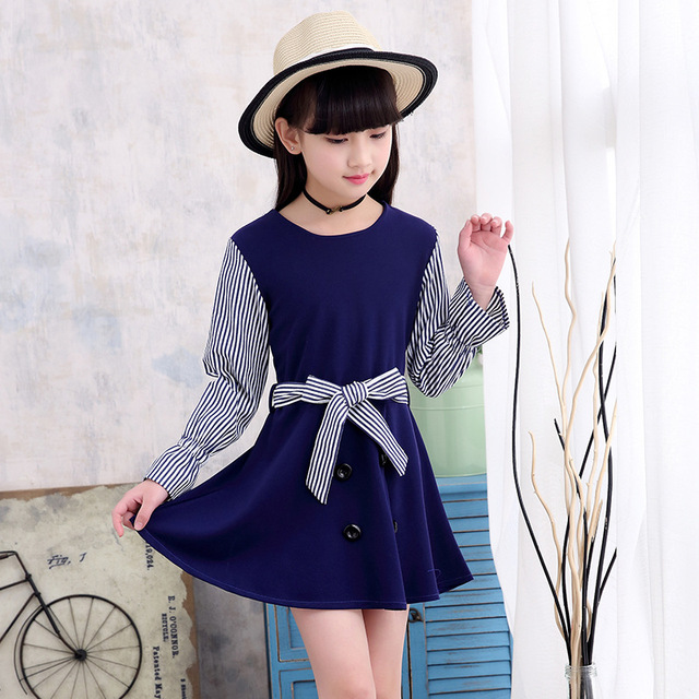 3b4c16eae Niños vestido dulce para Niñas azul chica vestido para 3 4 6 8 10 12 años