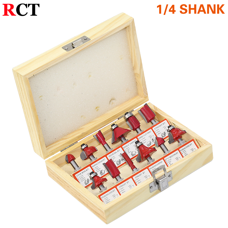 DIY 12pcs 1/4 Router Bits Set Professional Shank Tungsten Carbide Router Bit Cutter Set With Wooden Case For Woodworking Tools
