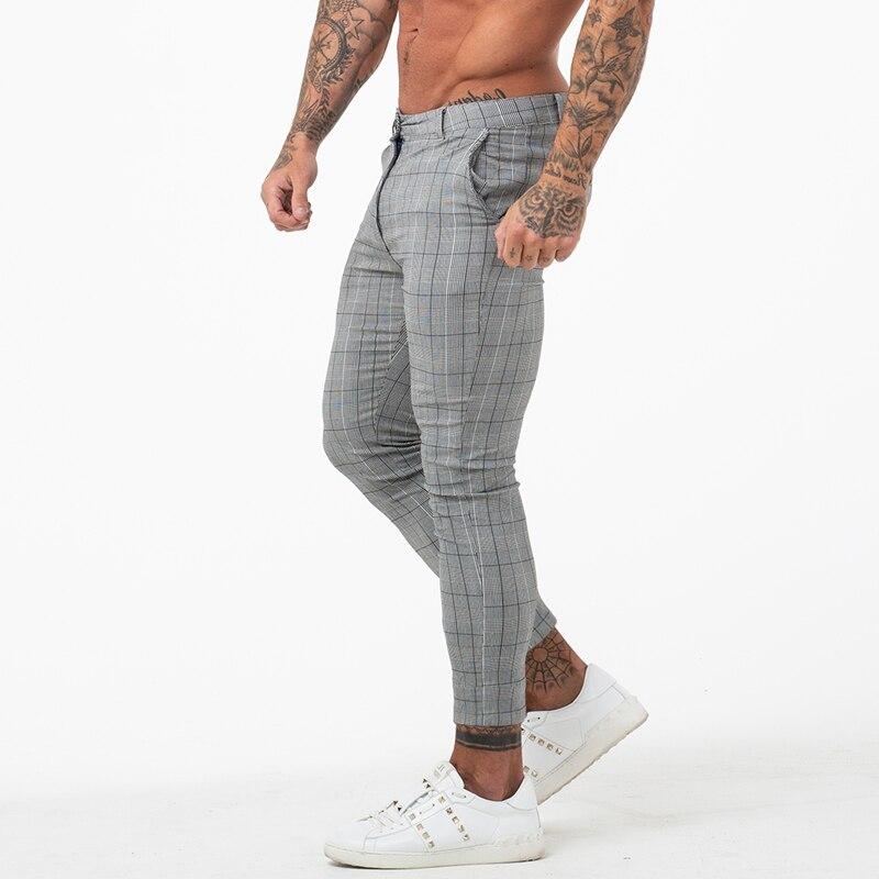 Gingtto Chino Pants Slim-Fit Plaid Grey Ankle-Length Men Skinny Designer Super-Stretch
