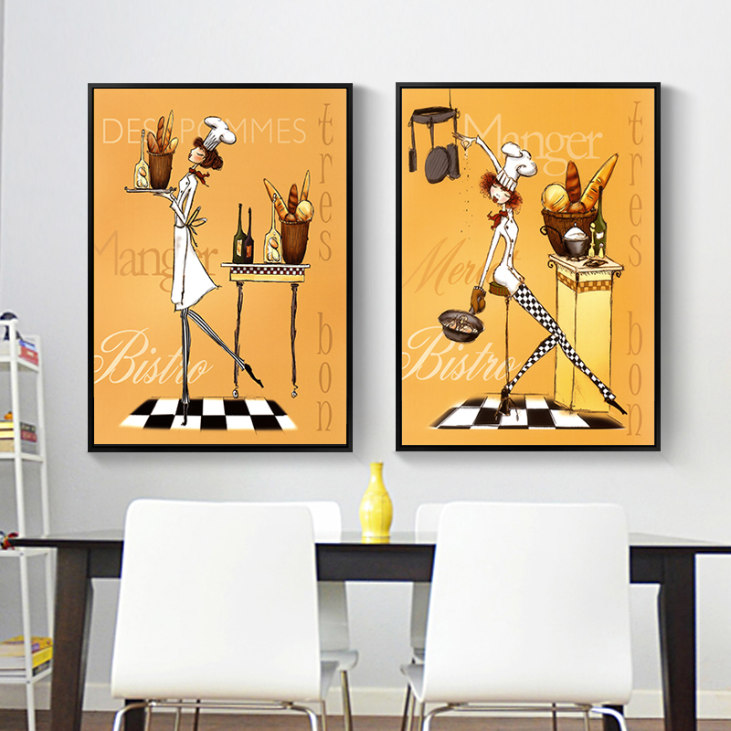 Nordic Creative Female Chef Art Canvas Painting Wall Posters Prints Wall Art Pictures For Kitchen Decor