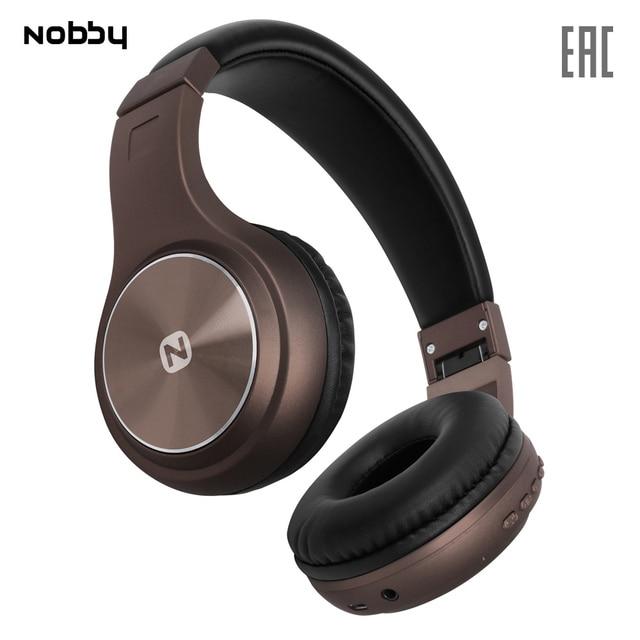 Беспроводные наушники с MP3 плеером Nobby Comfort B-230 , USB, удобные, стереогарнитура, портативные, коричневый