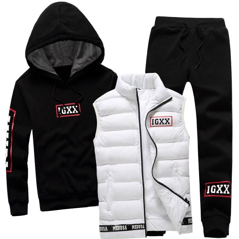Для мужчин комплект 3 предмета Марка Толстовка Теплый жилет штаны зима мужской молния спортивная одежда толстовка пальто капюшоном спортив...