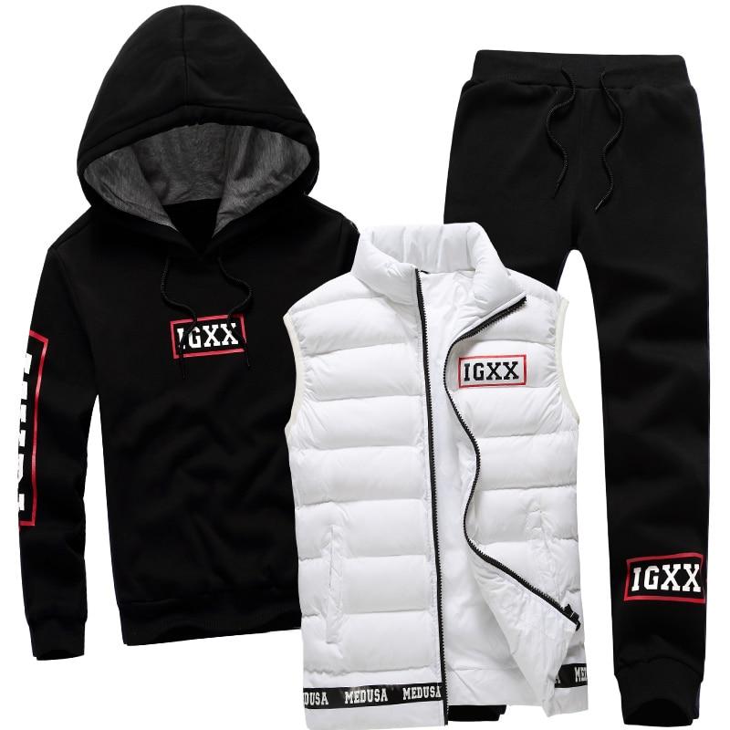Hombres Set 3 unidades marca Sudadera con capucha chaleco caliente invierno cremallera masculina ropa deportiva Sudadera Capucha chándal deporte de los hombres traje