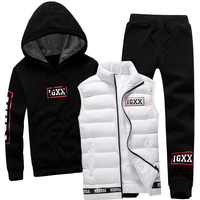 Men Set 3 Piece Autumn Winter Brand Hoodie Thicken Warm Zipper Vest Pants Sportswear Sweatshirt Hood