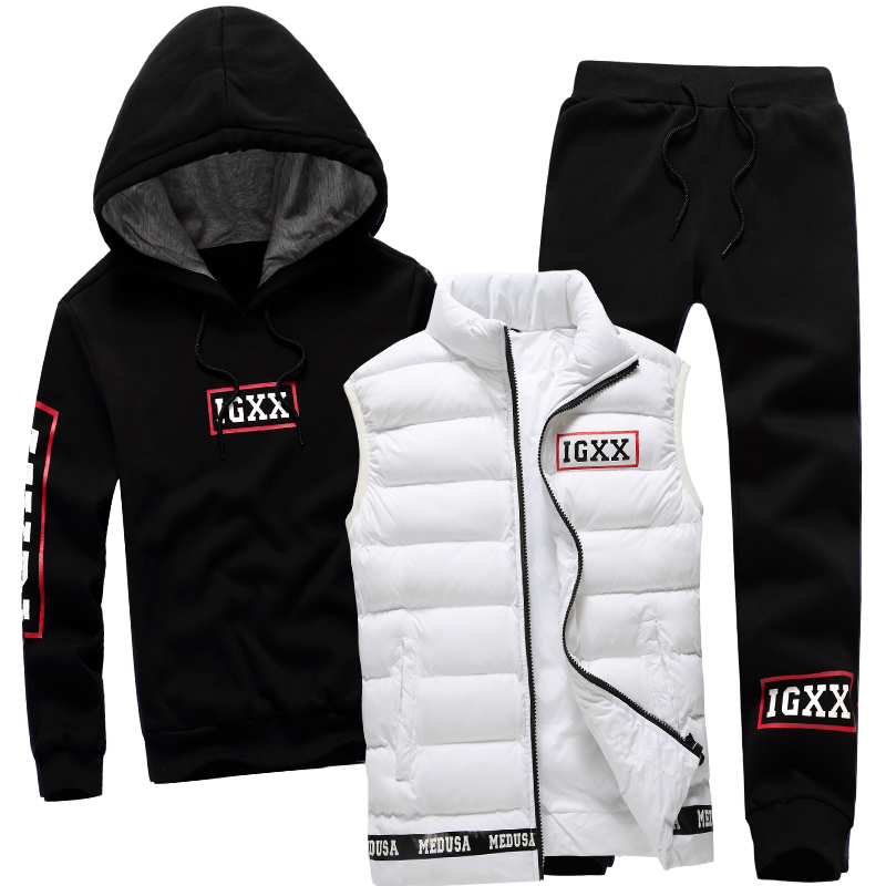 Men Set 3 Piece Brand Hoodie Warm Vest Pants Winter Male Zipper Sportswear Clothes Sweatshirt Coat Hood Tracksuit Men Sport Suit men s zip hoodie sweatshirt fall winter casual coat