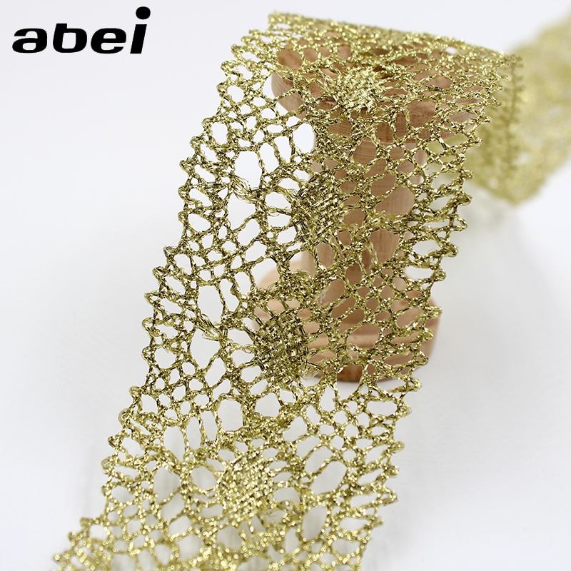 5cm 10yards Vintage Gold Lace Trims Lace Fabric For Garment Sewing Accessories Applique Wedding Crafts