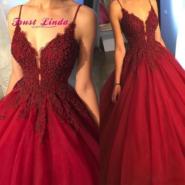 276f843a7f93 Spaghetti Straps Party Dresses For Wedding V Neck Floor Length Beaded  Burgundy Women Wedding Party Dress Robe De Mariee