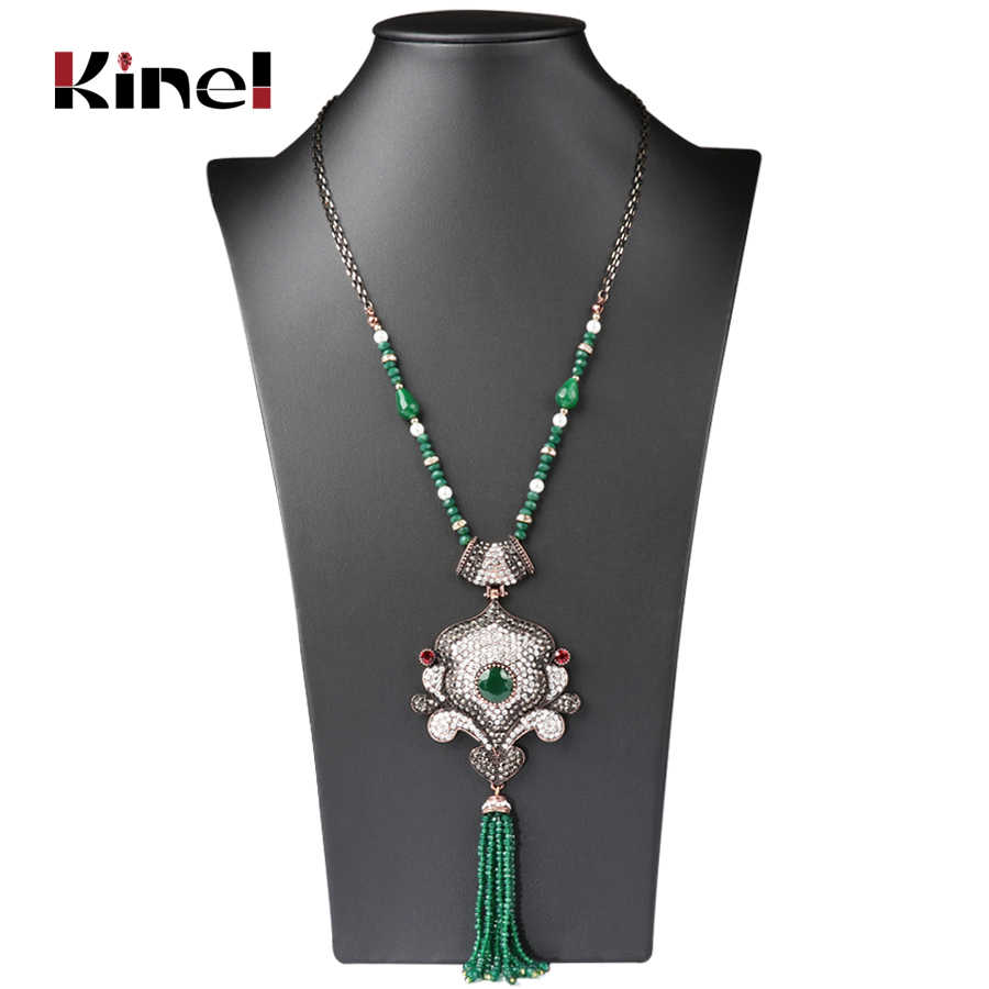 Kinel 2018 New Arrivals Austrian Crystal Nigerian Wedding Tassel Necklace For Women Handmade African Beads Jewelry Party Gift