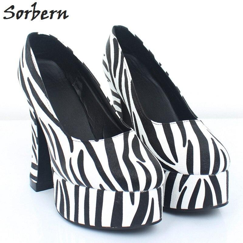 Sorbern Zebra Formal Shoes Ladies Pumps Women Slip On Shoes Fetish Ladies Shoes Size 43 Block Heel Pumps Women Shoes Colorful