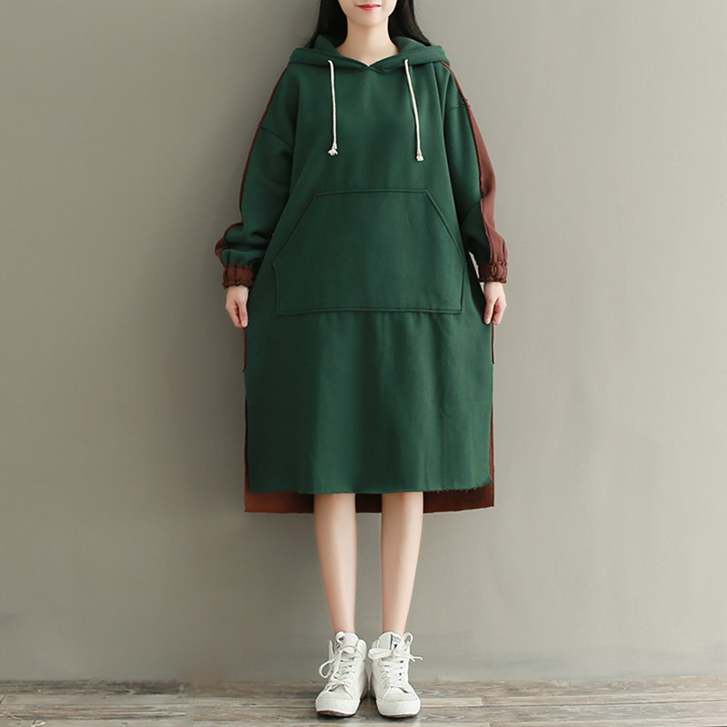 Autumn Women Vintage Retro Ladies Patchwork Long Sleeve Slit Hooded Loose Oversize Hooded Dress Casual <font><b>Hoodie</b></font> Sweat Pullover