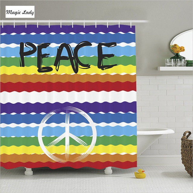 Shower Curtain Bathroom Accessories Colorful Hippie Peace Rainbow Symbols Decor Collection Yellow 180 200 Cm