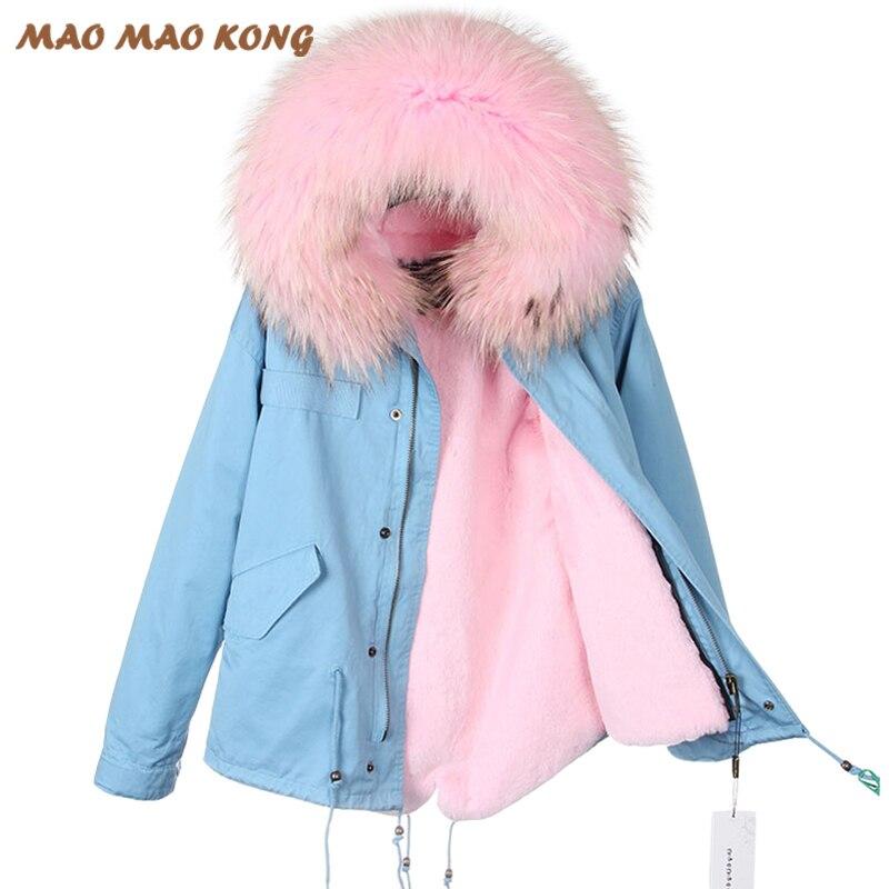 2018 Новый Для женщин зимняя куртка теплая верхняя одежда натуральный воротник из меха енота натурального меха куртка отделимые подкладкой и...