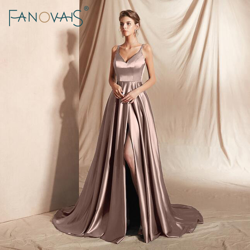 Sexy Front Slit Evening Dresses Long 2020 Spaghetti Strap Formal Dress Party Evening Gowns For Women Vestidos De Fiesta De Noche