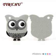 TYRY.HU Owl Shaped Baby Teethers 1Pc Baby Teething Silicone Beads BPA Free Kvietiniai Silicone Teether Jewelry Charm Macking