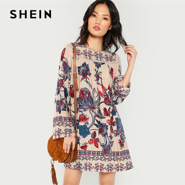 826753e29f SHEIN Multicolor Lace Eyelet Flower Print Dress Beach Vacation Botanical  Short Dresses Women Autumn Streetwear Tunic