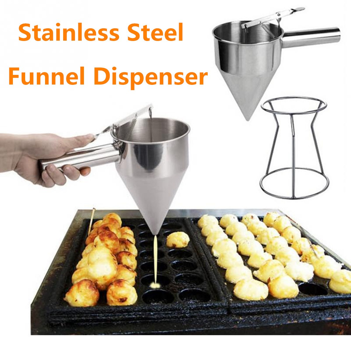 Stainless Steel Donut Cupcake Waffle Batter Dispenser Funnel Pancake Maker Helper With Rack Home Kitchen DIY Baking Tools 1000ml