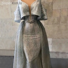 2019 Robe De Soiree Silver Gray Evening Dresses Long Off the Shoulder Detachable Skirt Gown Formal