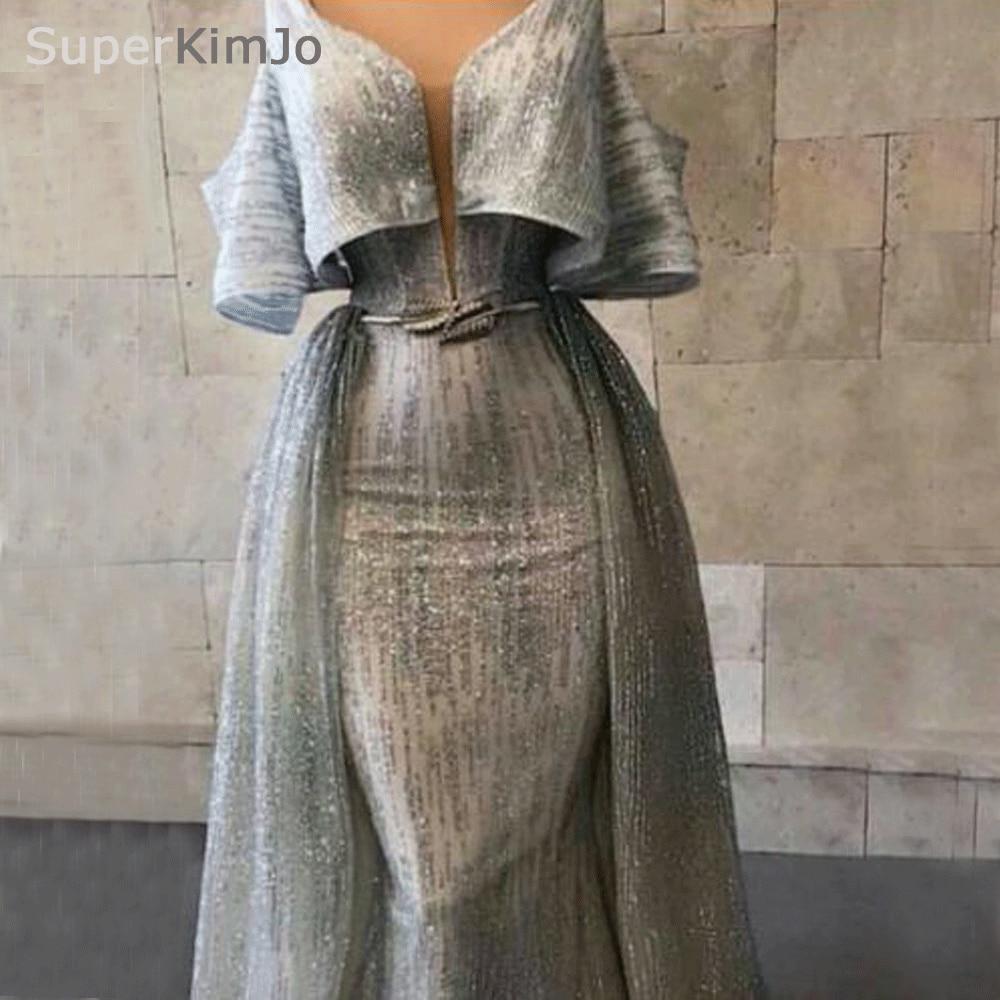 2019 Robe De Soiree Silver Gray Evening Dresses Long Off the Shoulder Detachable Skirt Evening Gown Formal Dresses