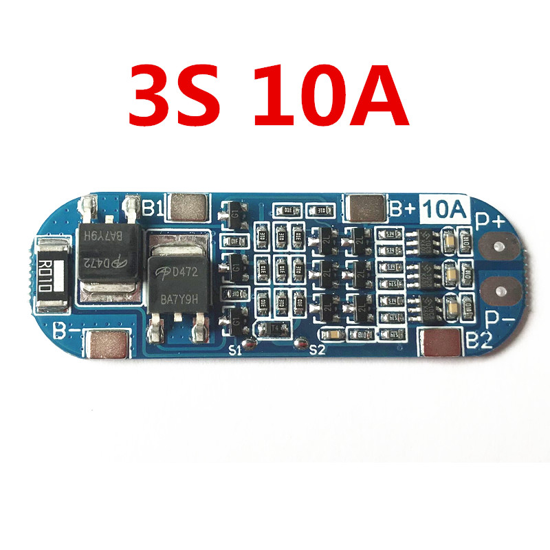3S 10A Lithium Battery Protection Board 11.1V 12V 12.6V BMS Overcharged/short-circuit