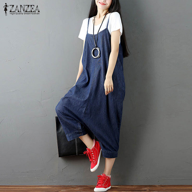4fe58b7284 S-5XL ZANZEA Women Oversized Buttons Strappy Harem Romper Loose Dungaree  Overalls Bib Pants Baggy Suspender Skirt Jumpsuit 2018