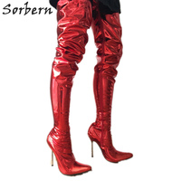 Sorbern 12Cm Silver Metal Stiletto Boots Women Extra Long 80Cm Crotch Thigh High Dance Show Boot Unisex Metallic Red Customize