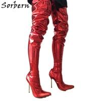 Sorbern 12Cm Silver Metal Stiletto Boots Women Extra Long 80Cm Crotch Thigh High Dance Show Boot Unisex Metallic Red Customize