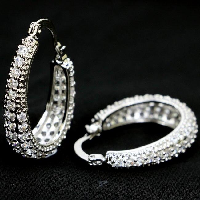 Gorgeous White Cubic Zirconia Woman's Wedding SheCrown 925 Silver Earrings 29x7mm