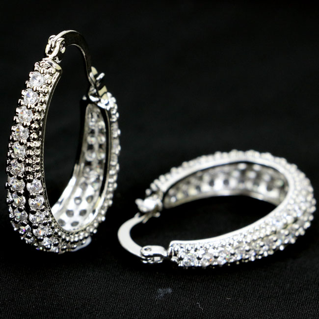 Gorgeous White Cubic Zirconia Woman's Wedding SheCrown 925 Silver Earrings 29x7mm
