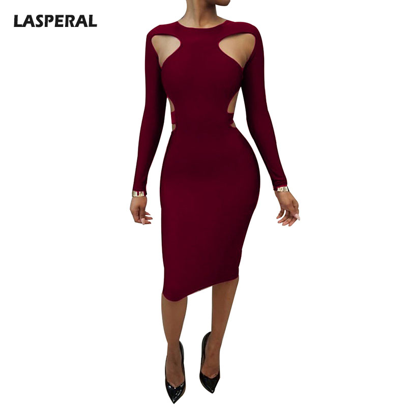 LASPERAL Hot Sale Sexy Women Dress Autumn Long Sleeve Bodycon Vestidos Hollow Out Fashion Skinny Slim Dresses Ukraine Cloth 2017