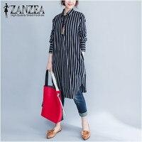 2017 ZANZEA Women Autumn Lapel Neck Stripe Full Sleeve Long Blouse Casual Linen Top Blusas Retro