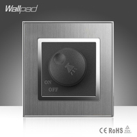 Voice Switch Wallpad Luxury 110 250V Brushed Metal UK EU Standard Rotray Voice Tuning Volume Control