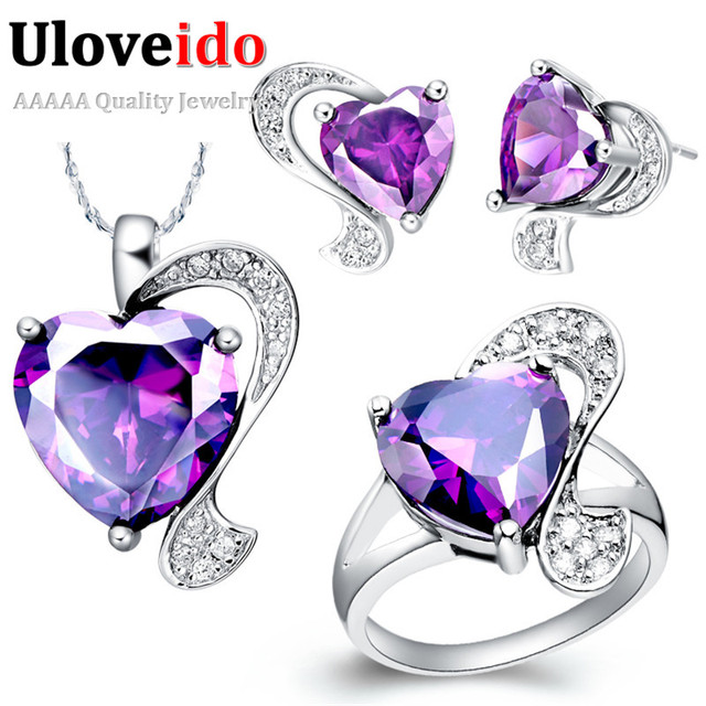 Uloveido Wedding Jewelry Sets Silver Color Red Purple Heart Wedding Necklace Earrings Rings Fashion Jewellery Set Gift T068