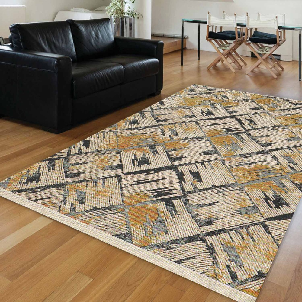 Else Brown Black Gray Tiles Turkish Vintage Abstract Aging 3d Print Anti Slip Kilim Washable Decorative Area Rug Bohemian Carpet