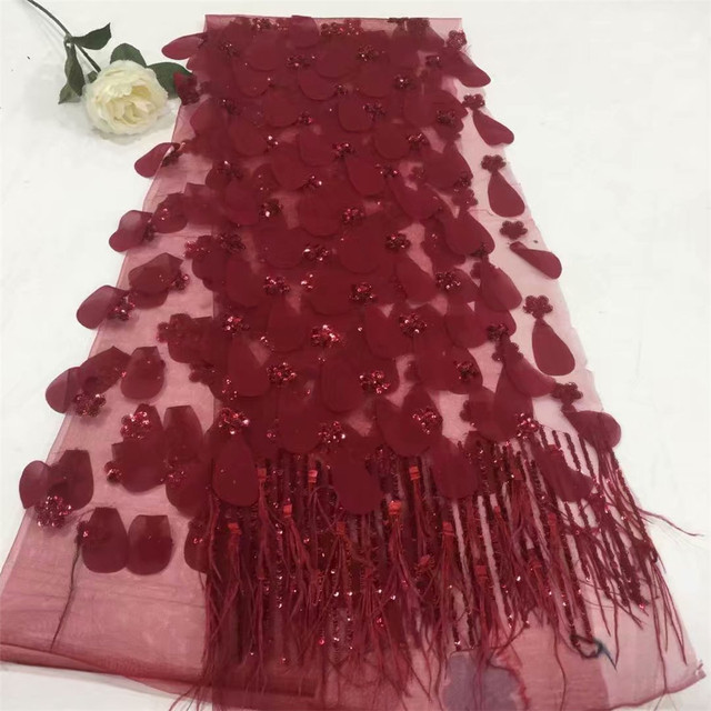 2018 New Style French Sequins Net Lace Fabric 3D Flower African Tulle Mesh Lace Fabric High Quality African Lace Fabric F677-2