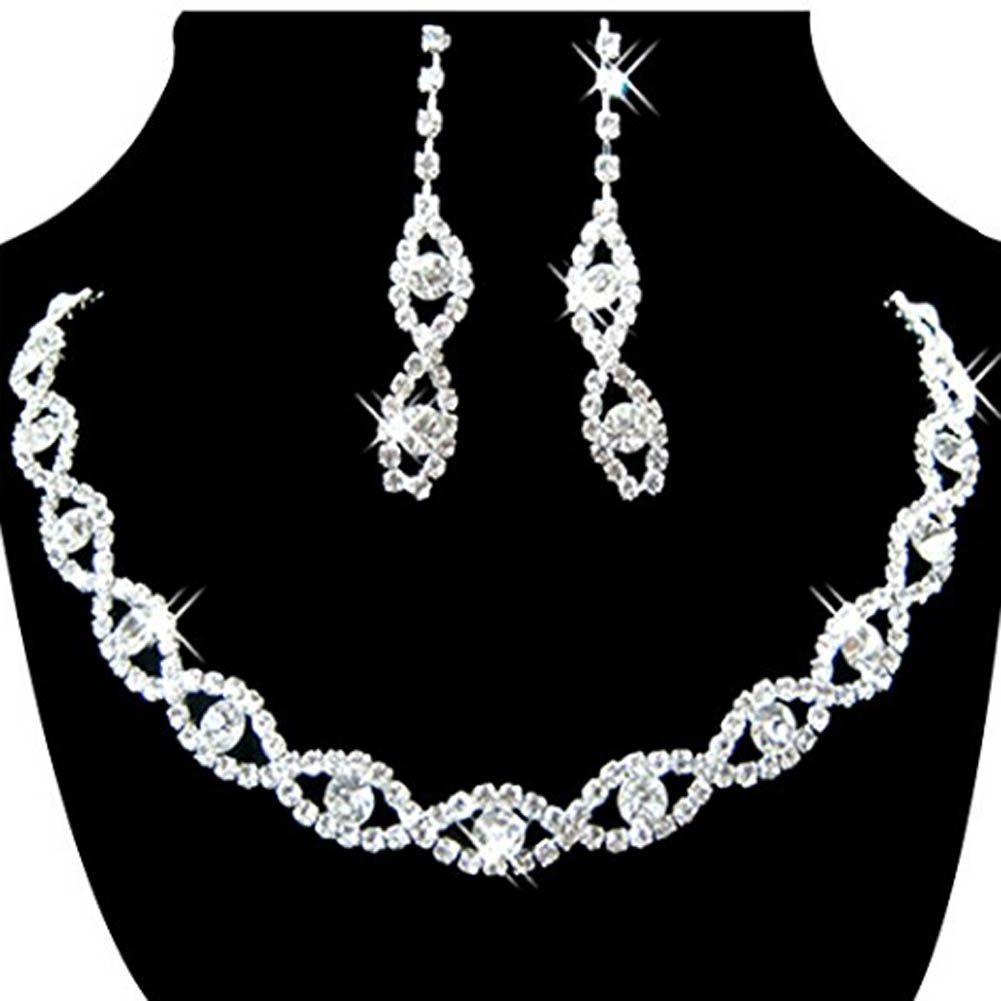 Classic Bride Jewelry Sets Crystal Rhinestone Necklace And Earrings Bride Acessory