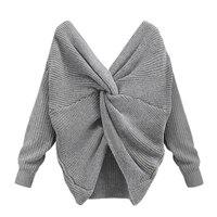 섹시한 겨울 여성 니트 트위스트 전면 V 다시 V 넥 긴 소매 스웨터 니트웨어