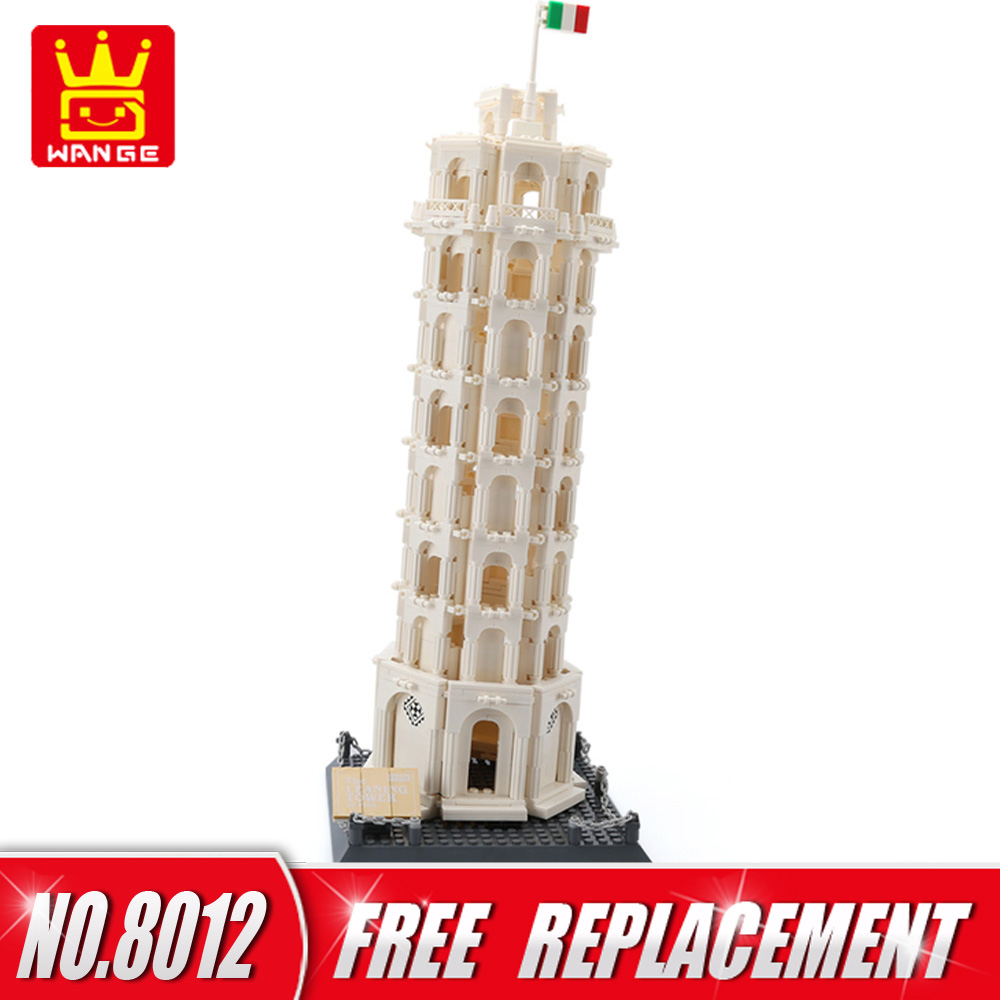 WANGE World Famous Architecture The Leaning Tower of Pisa Building Blocks 1392pcs Bricks DIY Funny Kids Educational Toys NO.8012 wange building blocks toys for children gifts architecture series fontana di trevi of roman 667pcs bricks home decor no 7014