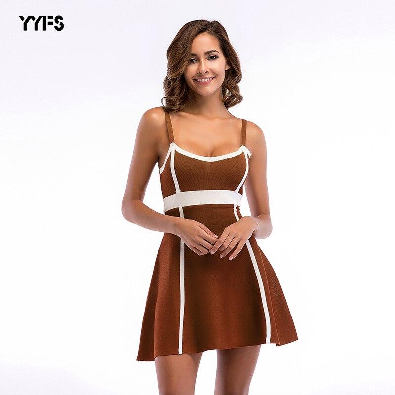2018 mujeres vestido de primavera nuevo punto Sexy vestido femenino de alta cintura Slim A-Line vestido