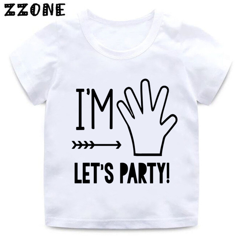 f0e0107c I'm 1/2/3/4/5 Let's Party Print Kids Funny T shirt Baby Birthday Clothes  Boys and Girls Summer White T-shirt,HKP5214