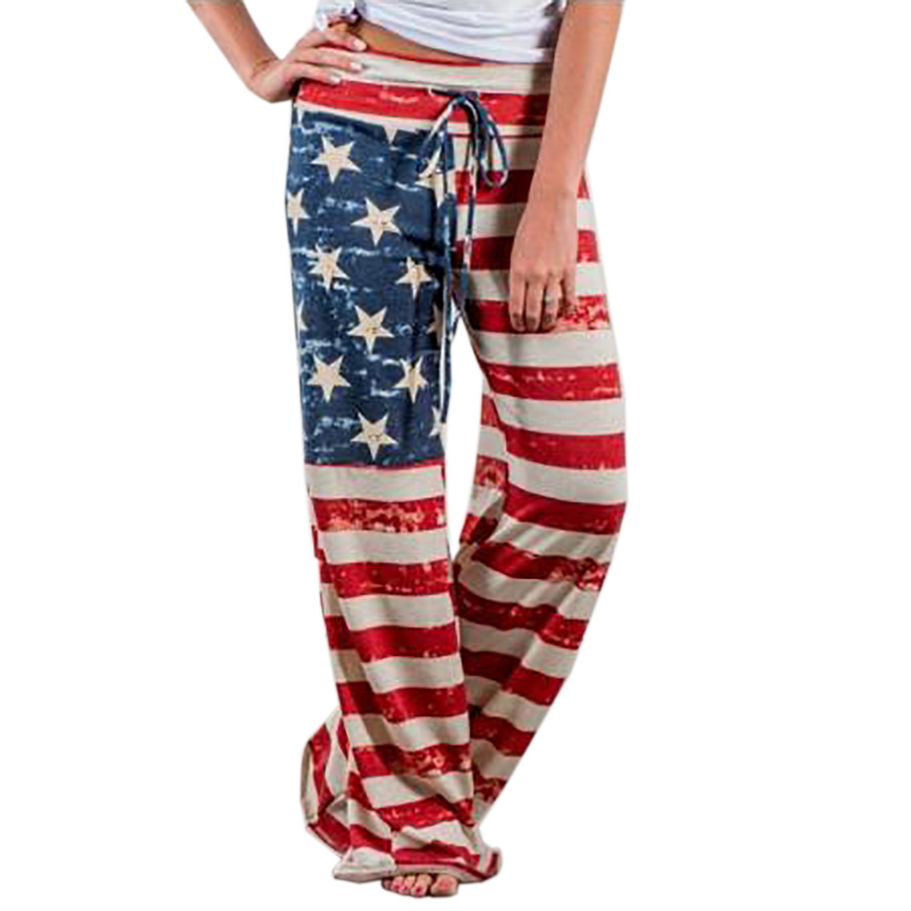 American Flag Print Women Long Pants Trousers Female Sexy Loose Waist Tie Track Pants Flag Of The United States