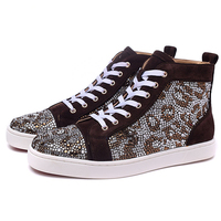 Fashion Crystal Leopard Mens Sneakers Brown High Top Lace Up Casual Shoes Street Style Party Weding Shoes Man Zapatos de Mujer