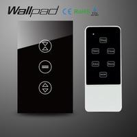 AU US Black Crystal Glass RF Remote Control Touch Curtain Switch AC 110 240V Wireless Remote