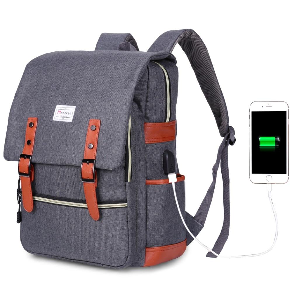 4c14ec7c00 Modoker Vintage Laptop Backpack With USB Charging Port Lightweight School  College Bag Rucksack Fits 15-